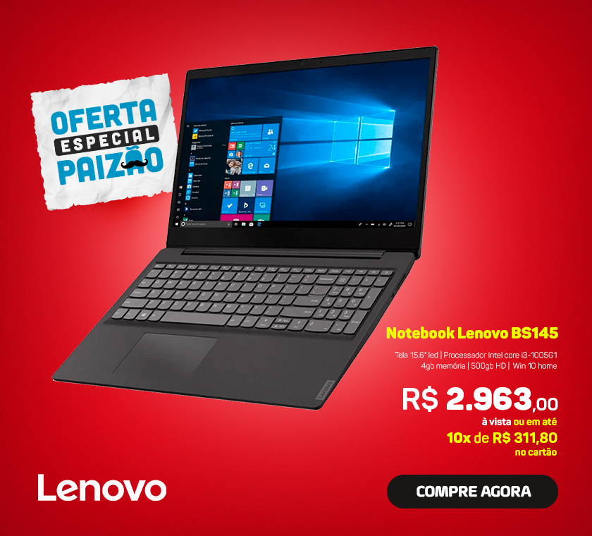 Notebook Lenovo BS145 Core i3 1005G1 Win 10 82HB0001BR
