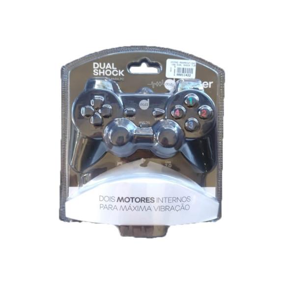 Controle joypad Dazz Dual Shock para PC preto