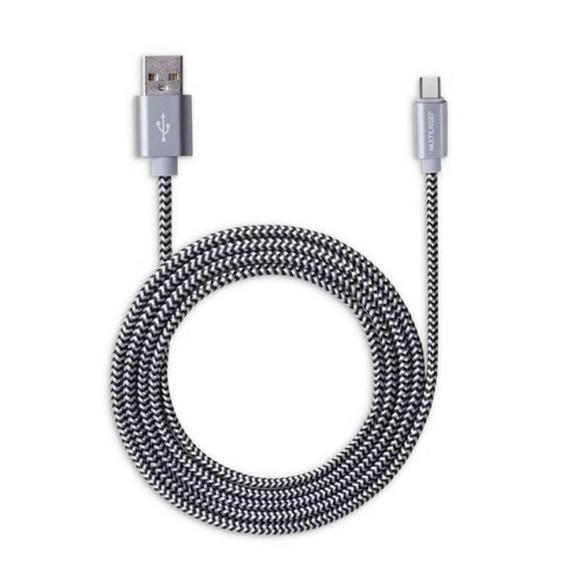 CABO USB MULTILASER TIPO C PRETO 1,5M NYLON - WI345