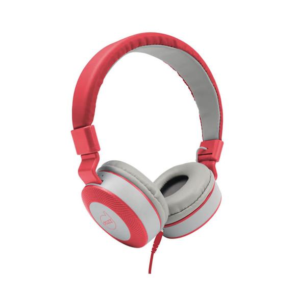 Fone de ouvido com microfone Moove Dazz cinza e vermelho