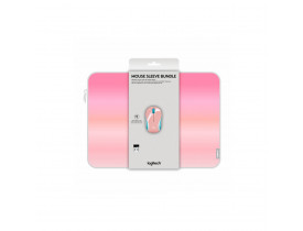 """Mouse Logitech sem Fio M187 Rosa c/ Capa p/ Notebook 14"""""""